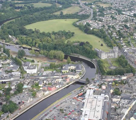 An aerial view of Kilkenny City showing the wealth of green infrastructure. Courtesy Ian Doyle, Heritage Council